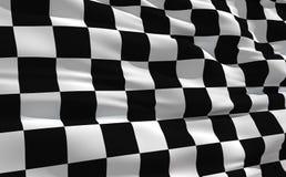 Wellenartig bewegende checkered Markierungsfahne Lizenzfreie Stockfotografie