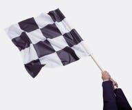 Wellenartig bewegende checkered Markierungsfahne Lizenzfreies Stockbild