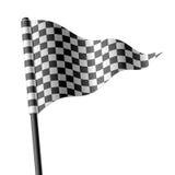 Wellenartig bewegende dreieckige checkered Markierungsfahne Stockfotografie