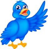 Wellenartig bewegende Flügel des glücklichen blauen Vogels lizenzfreie abbildung