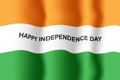 Wellenartig bewegende Flagge auf dem Feiern von Indien-Unabhängigkeitstag stockfoto