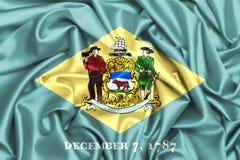 wellenartig bewegende Flagge 3d von Delaware Stockfoto