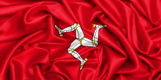 wellenartig bewegende Flagge 3d von Isle of Man Stockfotos