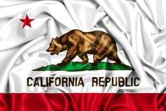 wellenartig bewegende Flagge 3d von Kalifornien Stockfotografie