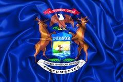 wellenartig bewegende Flagge 3d von Michigan lizenzfreie abbildung