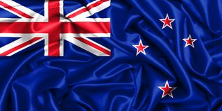 wellenartig bewegende Flagge 3d von Neuseeland im Wind lizenzfreies stockbild
