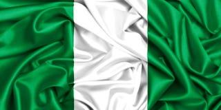 wellenartig bewegende Flagge 3d von Nigeria im Wind vektor abbildung