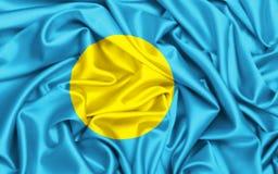 wellenartig bewegende Flagge 3d von Palau im Wind stockfotos