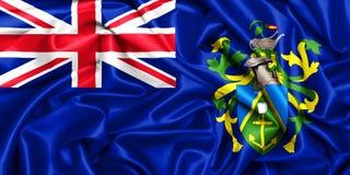 wellenartig bewegende Flagge 3d von Pitcairn-Inseln im Wind lizenzfreies stockbild