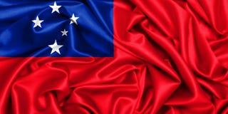 wellenartig bewegende Flagge 3d von Samoa im Wind lizenzfreie stockfotos