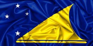 wellenartig bewegende Flagge 3d von Tokelau im Wind lizenzfreie stockbilder