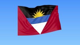 Wellenartig bewegende Flagge des Antigua und Barbuda, nahtlose Schleife Genaue Größe, blauer Hintergrund Teil aller Länder einges stock footage