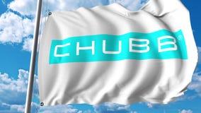 Wellenartig bewegende Flagge mit Chubb Limited-Logo Wiedergabe Editoial 3D Lizenzfreie Stockbilder