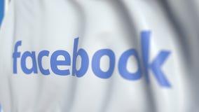 Wellenartig bewegende Flagge mit Facebook, Inc Logo, Nahaufnahme Redaktionelle loopable Animation 3D vektor abbildung