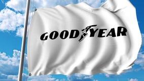Wellenartig bewegende Flagge mit Goodyear Tire und Logo Rubber Company Wiedergabe Editoial 3D Stockbilder
