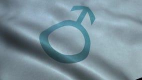 Wellenartig bewegende Flagge mit männlichem Zeichen