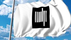 Wellenartig bewegende Flagge mit Massachusetts Institute of Technology MIT-Emblem Klipp des Leitartikels 4K stock footage