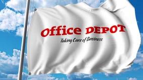 Wellenartig bewegende Flagge mit Office- Depotlogo Wiedergabe Editoial 3D Stockbilder
