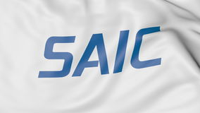 Wellenartig bewegende Flagge mit Saic-Logo Redaktionelle Wiedergabe 3D Stockfotografie