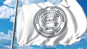 Wellenartig bewegende Flagge mit Universität des Ebenenemblems Illinois Urbana Klipp des Leitartikels 4K stock video footage