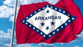 Wellenartig bewegende Flagge von Arkansas vektor abbildung