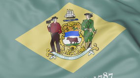 Wellenartig bewegende Flagge von Delaware-Staat Wiedergabe 3d Stockbild