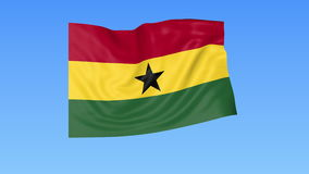 Wellenartig bewegende Flagge von Ghana, nahtlose Schleife Genaue Größe, blauer Hintergrund Teil aller Länder eingestellt 4K ProRe stock video footage
