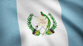 Wellenartig bewegende Flagge von Guatemala, nahtlose Schleife Genaue Größe, blauer Hintergrund Markierungsfahne von Guatemala Übe Lizenzfreies Stockfoto