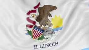 Wellenartig bewegende Flagge von Illinois-Staat gegen blauen Himmel Nahtloses Klipp der Schleife 4K stock footage