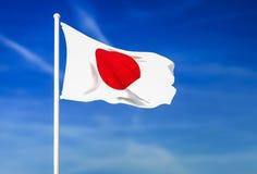 Wellenartig bewegende Flagge von Japan auf dem Hintergrund des blauen Himmels vektor abbildung