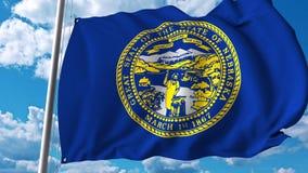 Wellenartig bewegende Flagge von Nebraska lizenzfreie abbildung