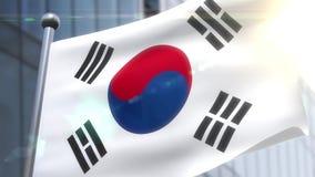 Wellenartig bewegende Flagge von Südkorea-Animation stock video footage