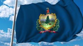 Wellenartig bewegende Flagge von Vermont stock abbildung