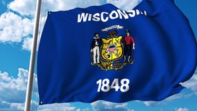 Wellenartig bewegende Flagge von Wiskonsin stock abbildung