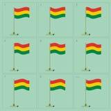 Wellenartig bewegende Flaggenanimation Vektor-Bolivien-Landes Reihenfolgenelfe-Blattillustration Stockbild