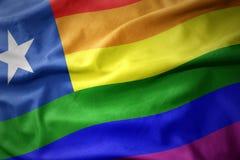 Wellenartig bewegende Flaggenfahne des homosexuellen Stolzes des Paprikaregenbogens Stockfotografie
