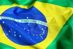Wellenartig bewegende Gewebe-Brasilien-Flagge Lizenzfreies Stockbild
