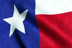 Wellenartig bewegende Gewebebeschaffenheit der Flagge mit blauer und roter Farbe der Nation Texas, Nation der USA Stockbilder