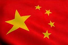 Wellenartig bewegende Gewebebeschaffenheit mit roter Farbe der Flagge der Leute von der Republik China Lizenzfreie Stockfotos
