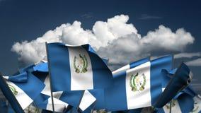 Wellenartig bewegende Guatemala-Flaggen