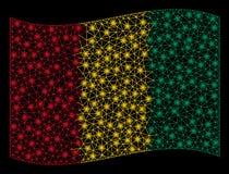 Wellenartig bewegende Guinea-Flagge Mesh Illustration mit Aufflackern-Effekt stock abbildung