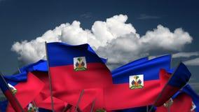 Wellenartig bewegende haitianische Flaggen
