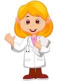 Wellenartig bewegende Hand der netten kleinen Ärztinkarikatur Stockbild