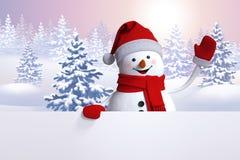 wellenartig bewegende Hand des Schneemannes 3d, Weihnachtskarte, Winterwaldhintergrund Stockfotografie