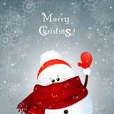 Wellenartig bewegende Hand des Weihnachtsnetten Schneemannes auf Winterschneeflockenhintergrund mit bokeh karikatur Stockfotografie