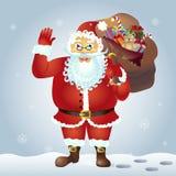 Wellenartig bewegende Hand Santa Claus-Karikatur Santa Claus mit einer angehobenen linken Hand Hundekopf mit einem netten glückli Stockfoto