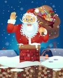 Wellenartig bewegende Hand Santa Claus-Karikatur Santa Claus mit einer angehobenen linken Hand Hundekopf mit einem netten glückli Lizenzfreie Stockbilder