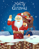 Wellenartig bewegende Hand Santa Claus-Karikatur Santa Claus mit nach links angehoben Stockfoto
