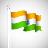 Wellenartig bewegende indische Markierungsfahne Lizenzfreies Stockfoto