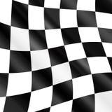 Wellenartig bewegende karierte laufende Flagge Lizenzfreie Stockbilder